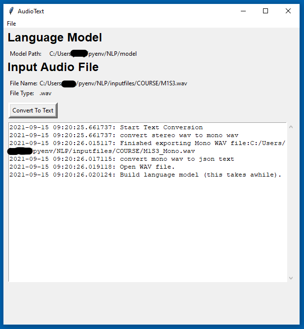 AudioText transcribing a podcast file.